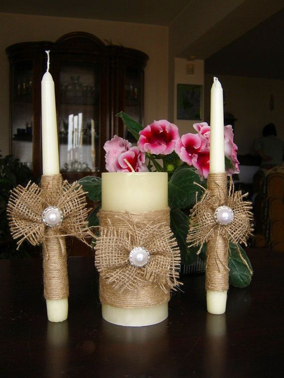 Rustic Wedding Candle Set of 3 Rustic Wedding Decor, Cottage ChicBurlap wedding Decor