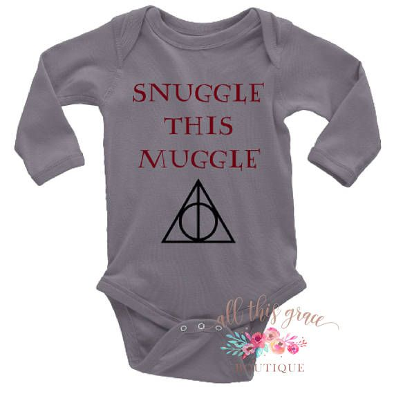 Harry Potter Baby Clothes - Snuggle this Muggle - Harry Potter Onesie - Harry Potter Long Sleeve Hipster Baby Clothes - Nerdy Baby Clothes All muggles need cuddles! This adorable Snuggle this Muggle bodysuit is perfect for all Harry Potter fans. All bodysuits are 100% cotton.