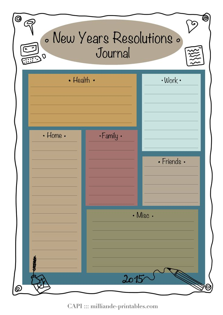 Different color combination of New Years Resolution Printable Day Planner Template , simple read download instructions to save o your computer and print as many as you wish for your own personal use or non-profit purpose s