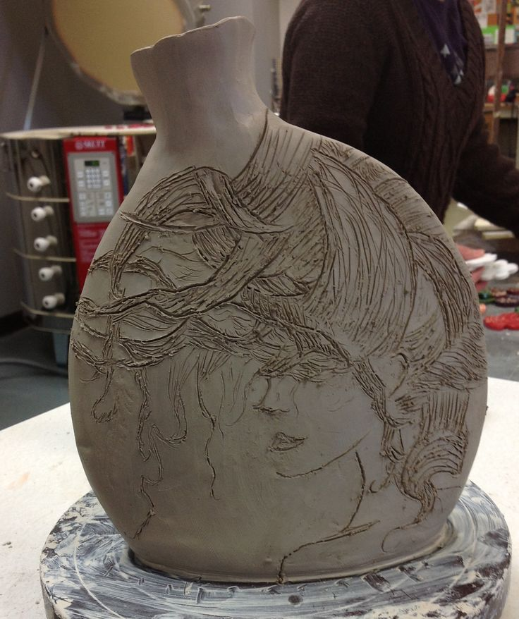 High School Ceramics, slab construction. Student will be using Mishima surface design once leather hard.