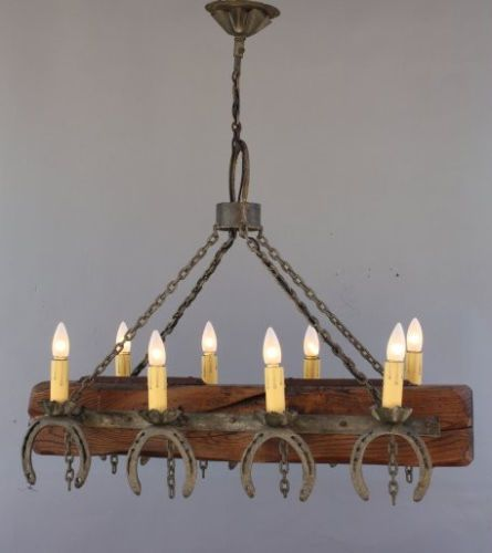 Rare-1930s-Western-Rancho-California-Monterey-Western-Horseshoe-Chandelier-Lamp