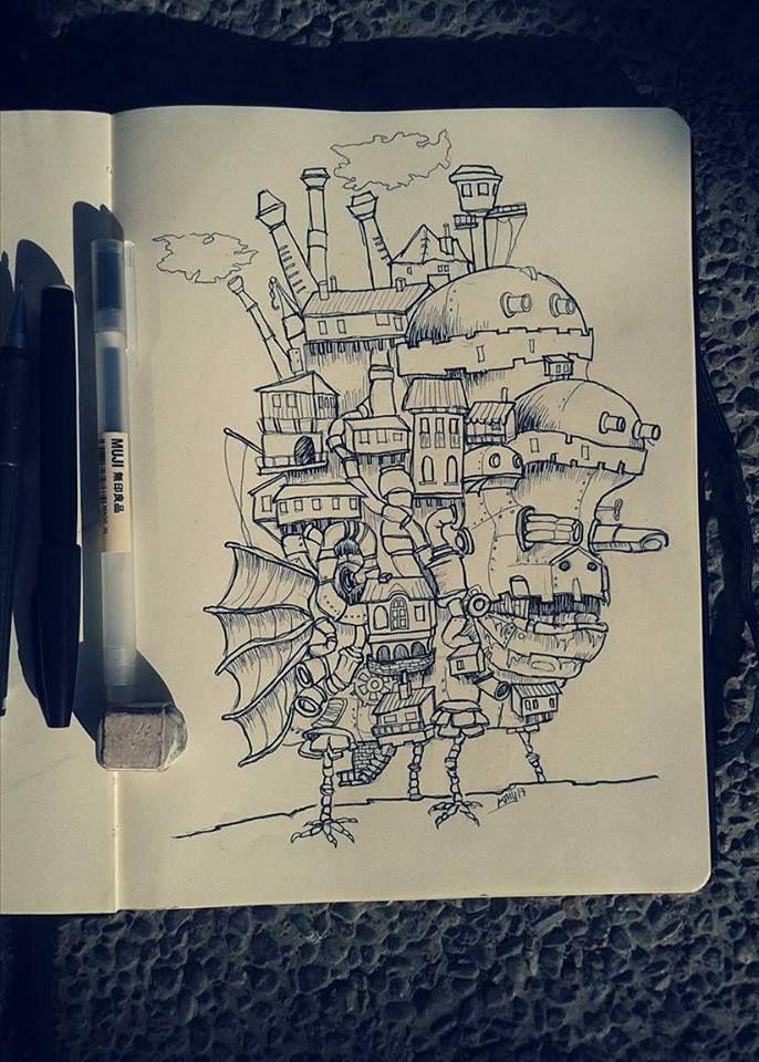 Ilustración,  croquis vista lateral este. Howl no Ugoku Shiro / ハウルの動く城 / El castillo ambulante -Studios Ghibli- (camiconcas /arq_cfcc)