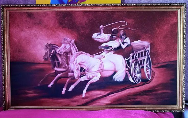#money #100 #horses #horse #painting #oil #olipainting #lo #lovak #festmény #hungary