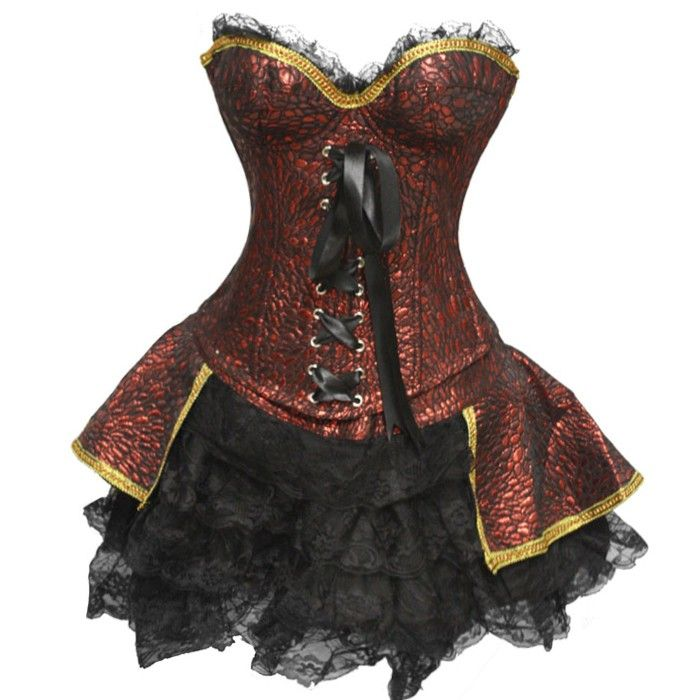 Red Renaissance Outfit with Collar | Burlesque Outfits | Burlesque Costumes