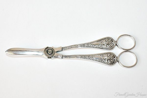 Antique Victorian English Silver Plated Grape Shears.FrenchGardenHouse.com