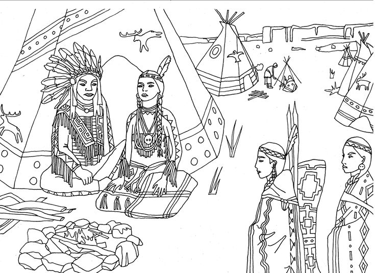 Free coloring page coloring-adult-native-americans-indians-sat-front-of-tipi-by-marion-c. Native Americans (Indians) sat in front of a tepee, by Marion C