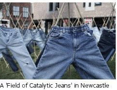 Fascinating article to share with Seniors earning their Science of Style badge (or Cadettes doing the Breathe program) -- jeans that help clean our air!