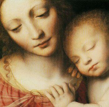 Bernardino Luini ~ Madonna and Sleeping Child with Three Angels (detail), 1532