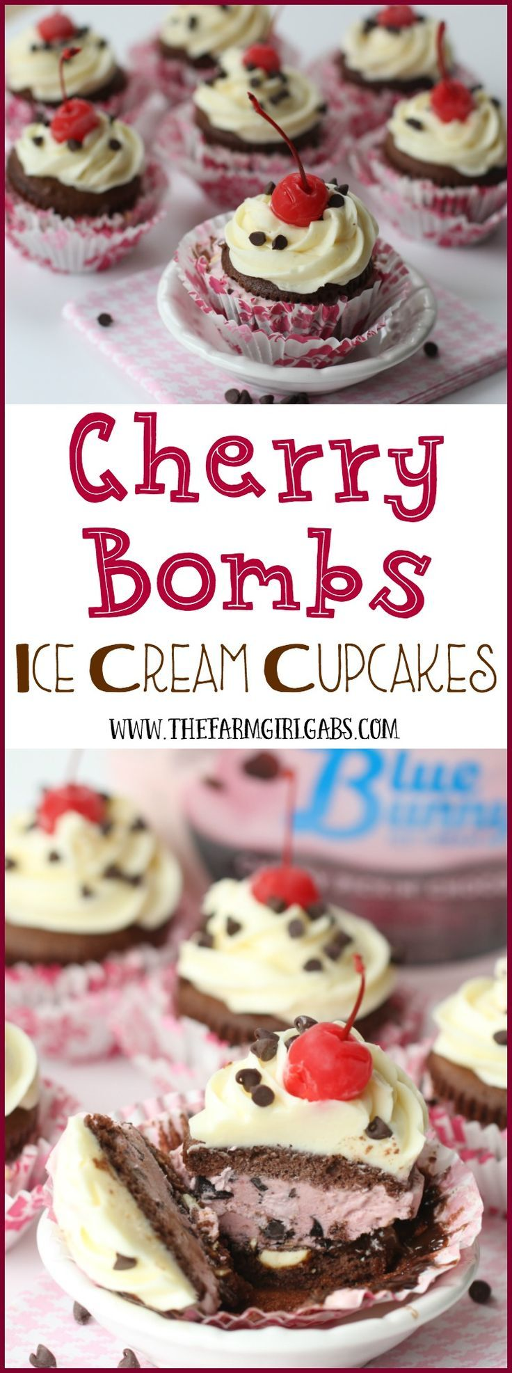 These Cherry Bombs {Ice Cream Cupcakes}, are the perfect reason to celebrated spring, warm weather and Blue Bunny Ice Cream®! You are going to love how easy this ice cream dessert recipe is! AD #SoHoppinGood