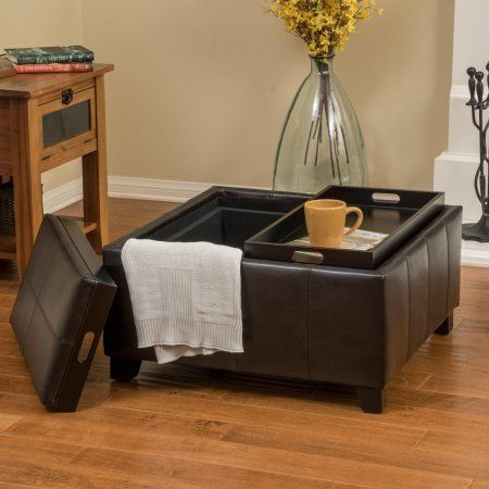 Noble House James Brown Faux Leather Storage Ottoman Cocktail