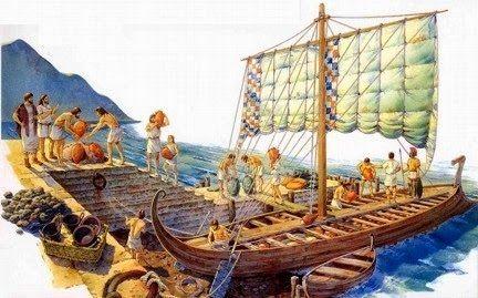 Trueque de productos según el método tradicional fenicio, antes de la invención de la moneda