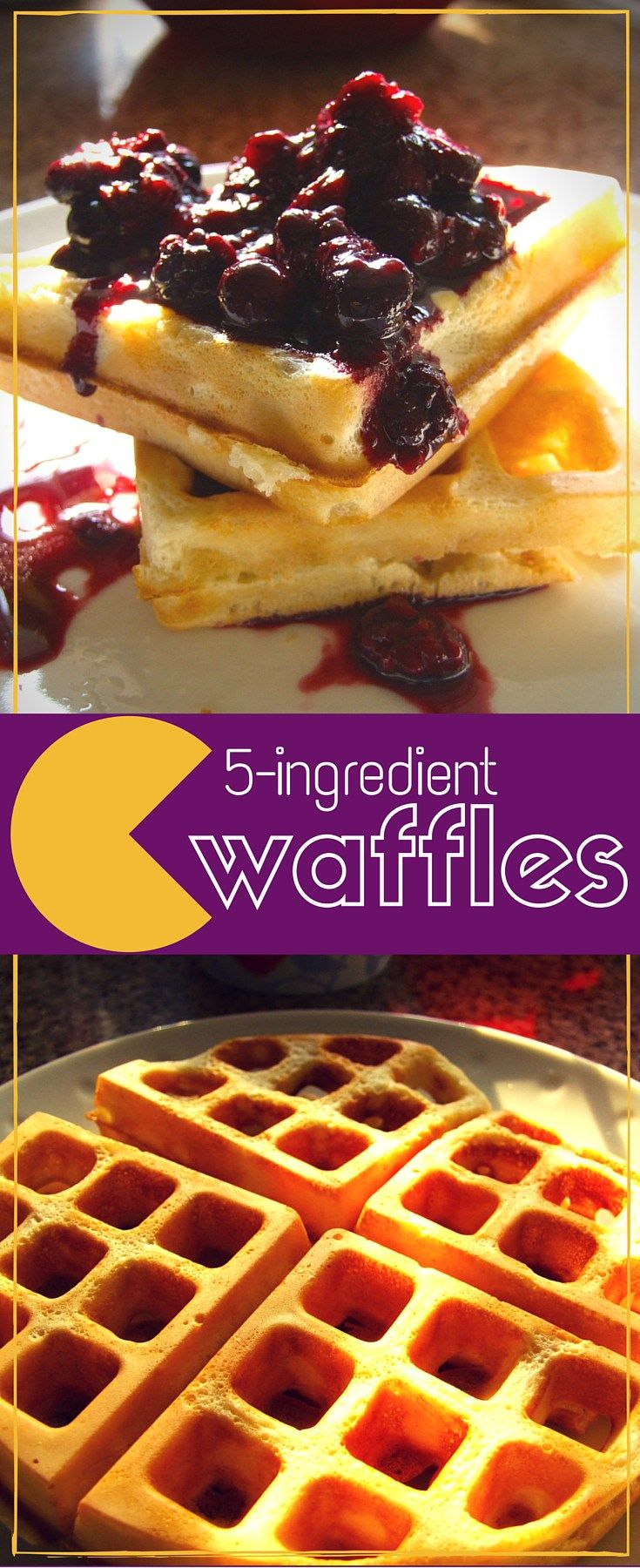 Delicious crispy waffles from just 5 basic ingredients. Perfect for sweet or savoury toppings like fruit, syrup, cheese or ice-cream. Yum!