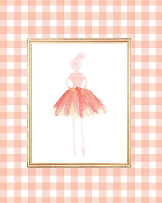 Ballerina Print, Ballerina Art, Dancer, Ballerina Watercolor, Ballet Tutu,  Coral Ballet Nursery, Coral Ballerina Decor, Coral Ballet Print