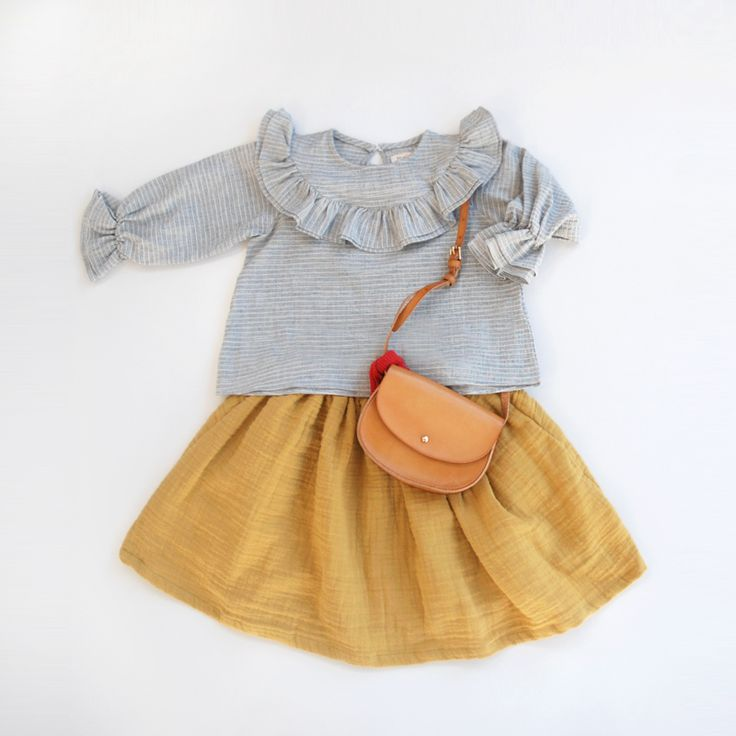 Beautiful ruffles blouse paired with double cotton gauze skirt...so darling together ♡ ♡