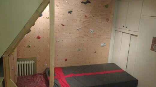 Apartment rock climbing wall