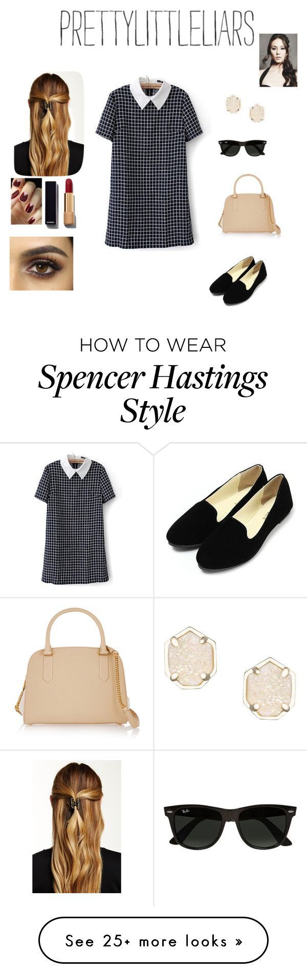 """Spencer Hastings"" by annieb0bannie on Polyvore featuring Kendra Scott, Nina Ricci, Ray-Ban, Natasha Accessories, Chanel, dress, pll, CelebrityStyle and TroianBellisario"