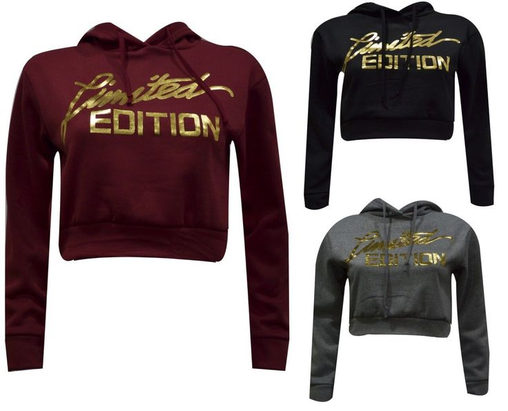Womens Ladies Gold Foil Limited Edition Print Pull Over Hoody Sweatshirt Cropped
