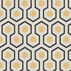 Papier peint - Cole and Son - Hicks Hexagon - Grey Black White & Gold