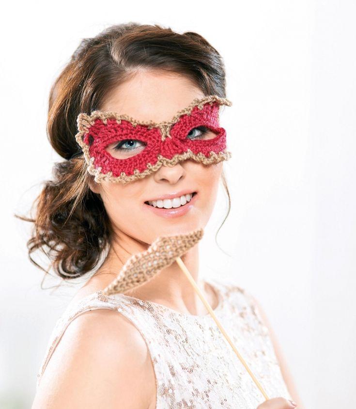 Fancy dress crochet mask and moustache
