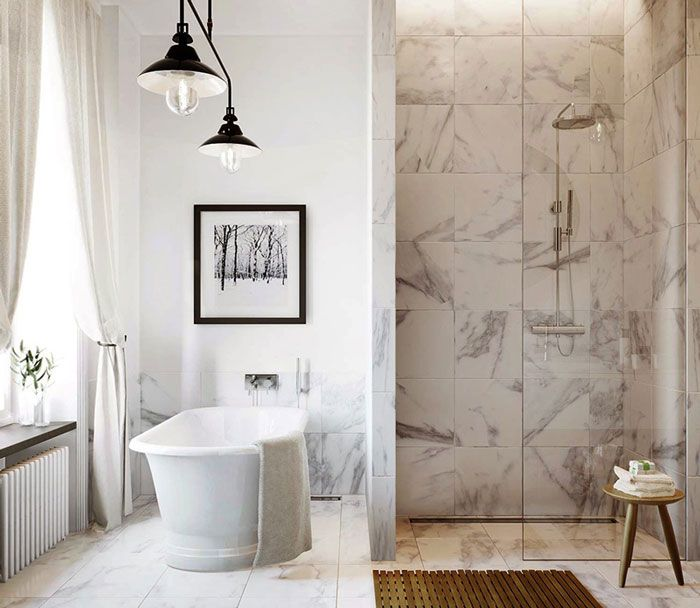 ... Also Two Cool Black Bronzed Pendant Lamp And Small Space Shower Room  Decor With Gray Marble Wall Decor: Minimalist Bathroom Design In White  Complete ...