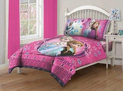 Disney Frozen Twin Bedding Set Comfort Anna Elsa Warm Bedroom Pink Girls Gift   Product Description: This is a Disney Frozen Floral twin bedding comforter set.
