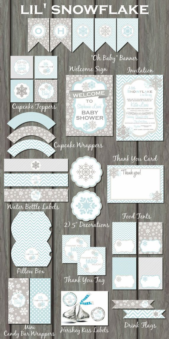 Snowflake Baby Shower Party Kit Snowflake by PartyInvitesAndMore, $35.00