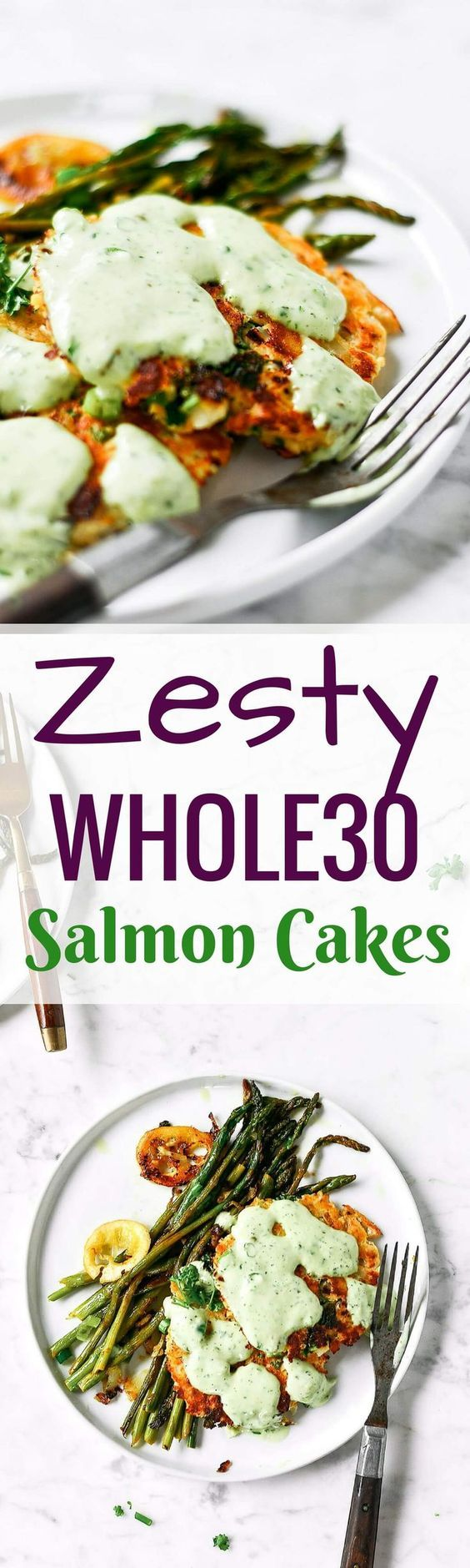Best zesty herb salmon burgers w/ lemon asparagus & tzatziki sauce! Easy & delicious whole30 meal. Ready in 20 minutes! Paleo & Whole30.