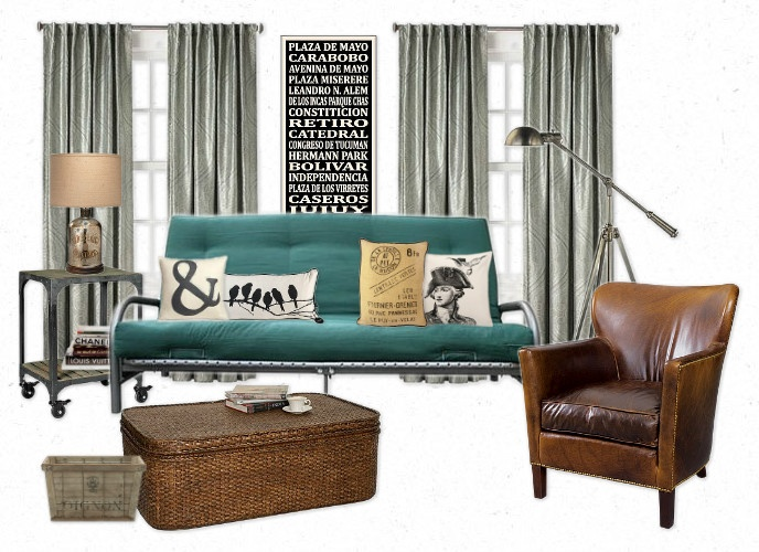 Urban Industrial: Start by hanging some gray curtains.  For artwork, hang a trendy subway sign or black and white photograph.  On one end of the futon, use an industrial cart on wheels as a side table to hold books and a lamp with a metallic base. As far as pillows go, anything black and white or burlap that features cool illustrations or typography will complement the decor well.  And a nicely worn-in leather chair handsomely completes the scheme.