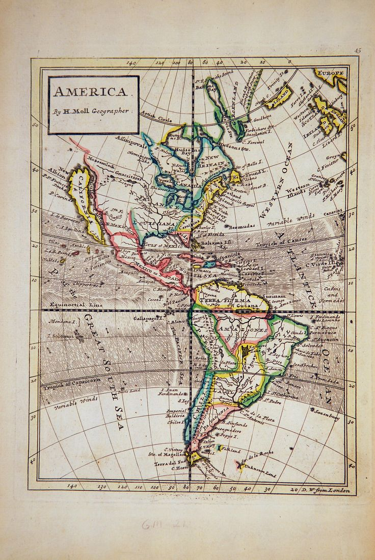 Maryland Map Coordinates%0A Map of North and South America by Herman Moll             London