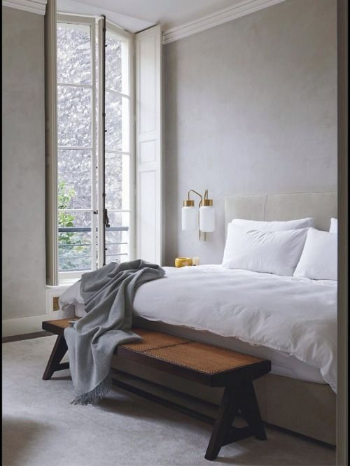 Joseph Dirands Master suite. Plastered walls, vintage Azucena sconces, the muted & calming colour palette. Perfection.