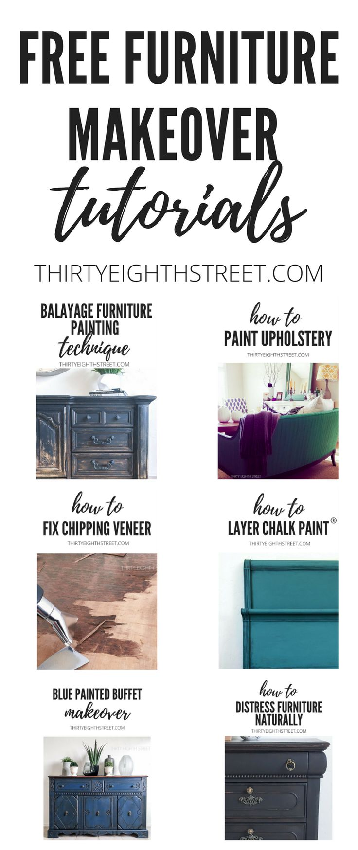 TONS of Furniture Before and Afters. Painted Furniture Makeovers. DIY Furniture Tutorials! Chalk Painted Furniture Ideas. Repurposing Furniture Ideas. Furniture Refinishing Tutorials. Painting Techniques and more! #paintingfurniture #diy #refinishingfurniture #diyfurniture #furnituremakeovers #beforeandafters