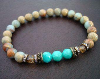Frauen Anti-Angst Mala Armband / / afrikanischer Opal & Amazonite Mala Armband / / Yoga, Buddhismus, Meditation, Schmuck