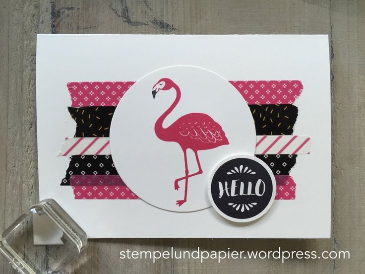 Stempelmittwoch Juni 2016, Stampin' Up, SU, Washi Tape Karte, Pop of Paradise, Washi Tape