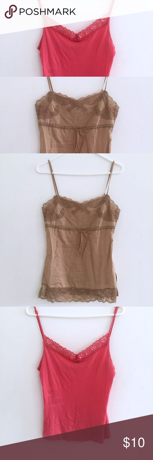 2 Lace Cami Bundle - Gold and Coral Get BOTH these adorable lacy camis! Both EUC. The gold cami says XS but definitely fits more like a S. The coral cami has a tinnnnny hole that I have pictured but is hardly noticeable Express Tops Camisoles