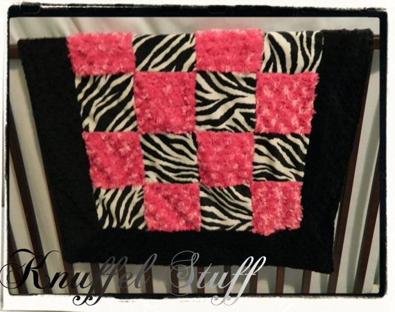 Quilt Blanket  Personalized baby blanket  fuchsia by KnuffelStuff