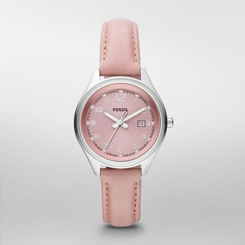 Fossil Flight Mini Leather Watch - Pink Fossil. $75.00. Mineral Crystal. Quartz Movement. 32mm Case Diameter. 10 Meters / 30 Feet / 1 ATM Water Resistant