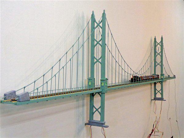 ho scale suspension bridge | My new Bridge - Model Railroading Layouts - Model Railroader - Trains ...
