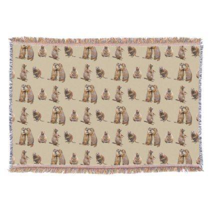 Prairie Dog Frenzy Throw Blanket Gold