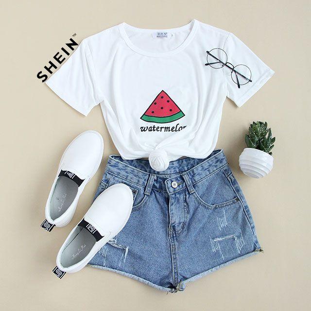 The iced watermelon! #White #Watermelon #Print #T-shirt