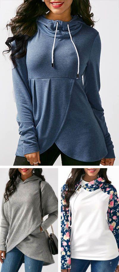 hoodie, hoodies, womens hoodie, cute hoodie, fall hoodie, blue hoodie, long sleeve hoodie, modest hoodie, rosewe hoodie, hoodie 2017, free shipping worldwide at Rosewe.com.