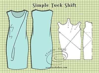 Simple and elegant designs are the hardest patterns to cut. Pattern Puzzle -Simple Tuck Shift http://www.studiofaro.com/well-suited/pattern-puzzle-simple-tuck-shift #PatternMaking #Sydney