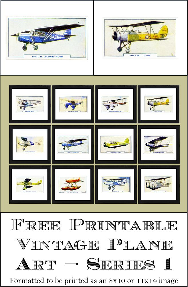 "Free Printable Vintage Plane Art - Series 1.  Formatted to be printed for an 8"" x 10"" or 11"" x 14"" frame.  www.simplymadebyrebecca.wordpress.com"