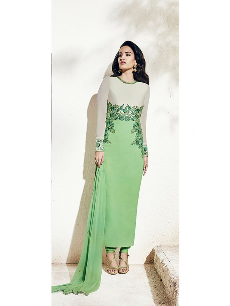 Nakkashi Off White , Green Chiffon and Georgette Designer Salwar Kameez
