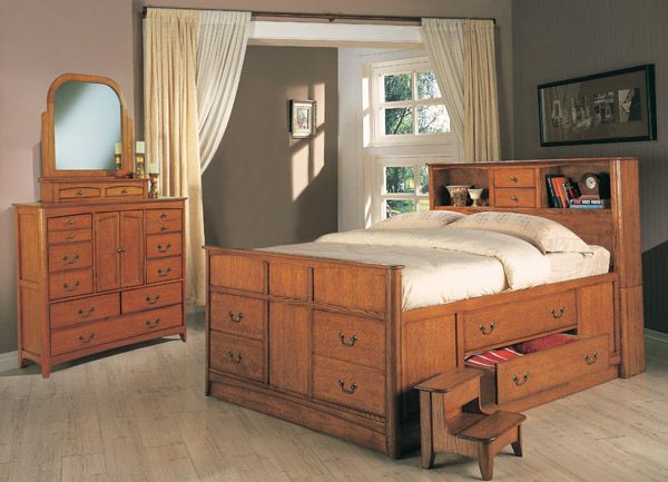 Rustic Queen Bookcase Captains Bed With Drawer Storage