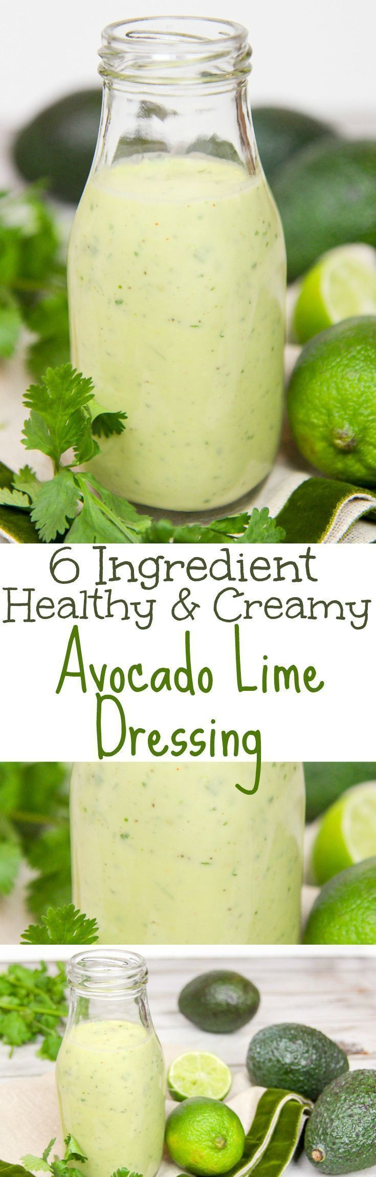 6 Ingredient Healthy & Creamy Avocado Lime Dressing recipe. A clean eating, easy homemade salad dressing with avocado, cilantro and greek yogurt. Low carb, vegetarian and paleo. Great on salads or tacos. / Running in a Skirt
