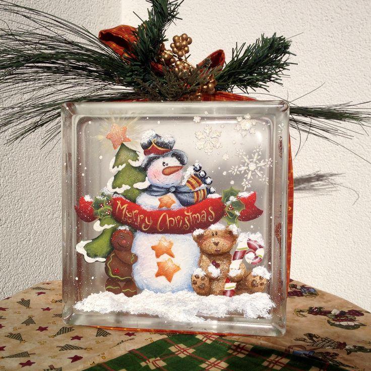 Merry Christmas Glass Block dipinto a mano da un progetto di Holly Hanley