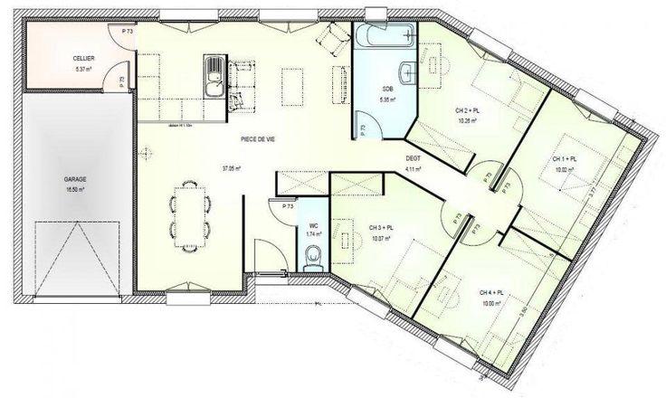 plan gratuit maison plain pied 4 chambres en l 1 plan. Black Bedroom Furniture Sets. Home Design Ideas