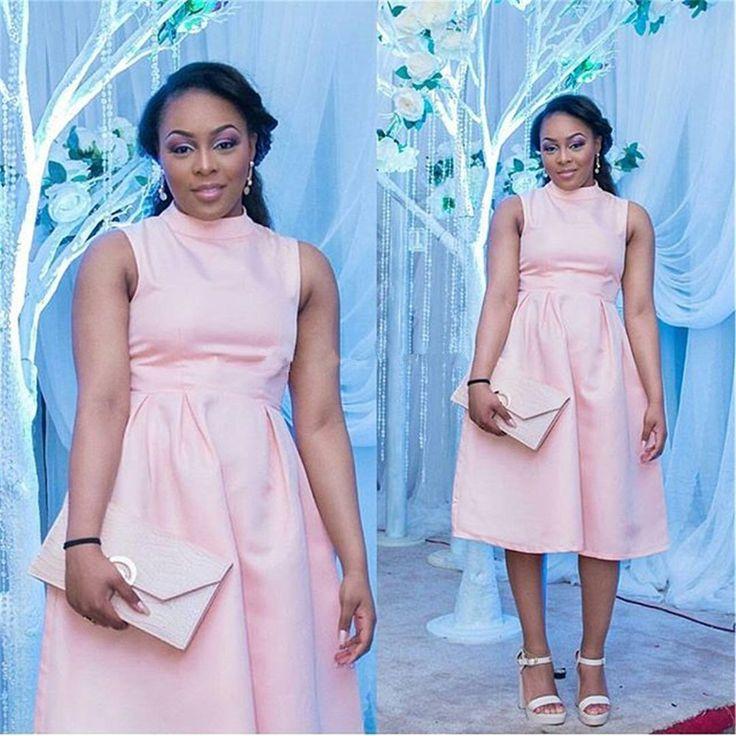 Simple Elegant Pink High Neck Sleeveless Satin Tea Length Homecoming Dress 2017 Vestido De Festa Curto