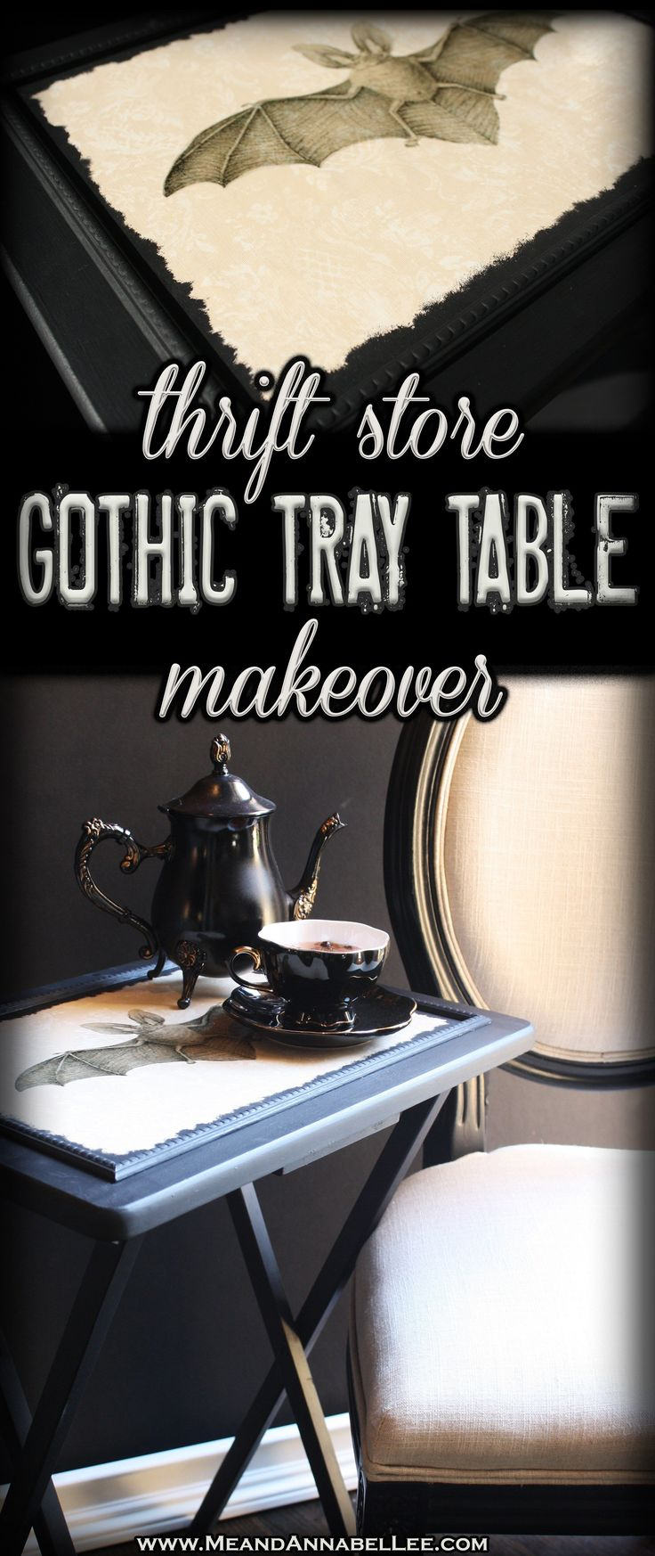 Victorian Gothic Image Transfer | DIY Vintage Vampire Bat TV Tray Table | Thrift Store Makeover | Goth It Yourself | Silhouette Sticker Paper | Wallpaper projects | www.MeandAnnabelLee.com #thriftstorefurniture