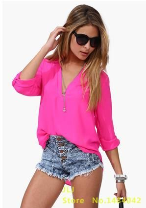 Summer Shirt Women V-Neck Chiffon Blouse Tops Woman Casual Shirts Shirt Pure Color Tops Plus Size Shirts S016 S016 Rose XL